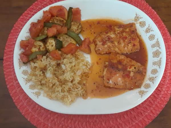 Salmon In Sweet Chili Honey Sauce. Goes Well With Fried Rice And A Vegetable Medley.