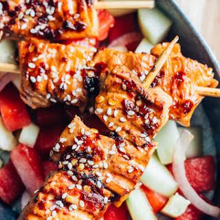 Sesame Salmon Skewers with Cucumber Watermelon Salad