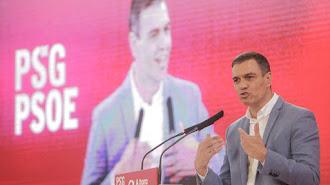 Pedro Sánchez, durante su intervención en Galicia.