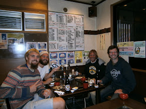 Photo: Left to right, my Japan cruising crew that never happened, Robin and Pontus, Myself and Stephen, lucky the menu had pictures