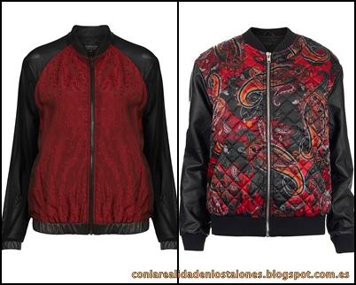 Topshop Mesh Sleeve Jacquard Bomber & Paisley Contrast Bomber Jacket