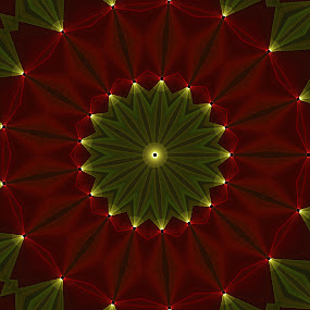Golden Flower by Johnny Knight - Abstract Patterns ( red, art, green, shape, kaleidoscope, patterns, indoors )