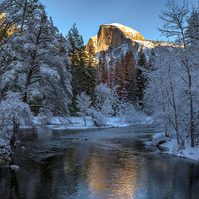 Half Dome Dressed in Winter Finery by Janet Martinez - Landscapes Mountains & Hills ( national park, half dome, yosemite, snow, merced river, yosemite national park )