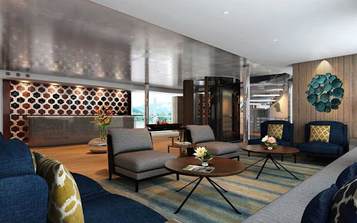 Scenic-Spirit-lounge - The lounge of Scenic Spirit, the new river ship that sails the Mekong River.