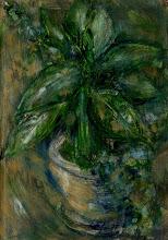"Photo: 'House Plant, 3', 4th draft, 21cm x  29cm, 8"" x 11.5"", 2012, Moleskine folio Sketchbook, oils."