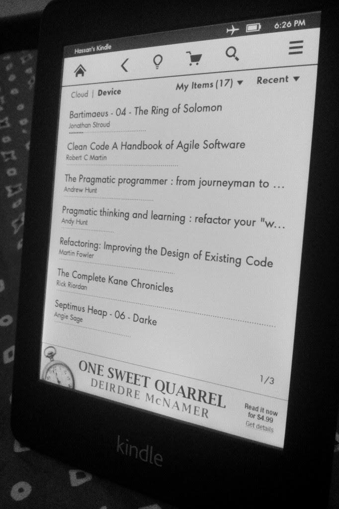 Tampilan Home Kindle Paperwhite dalam format list
