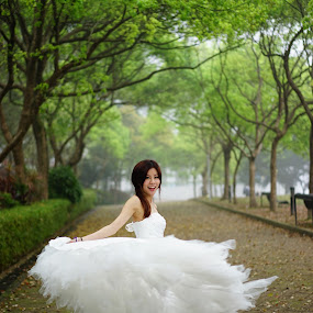 Path to Happiness by Billy C S Wong - Wedding Bride ( wedding dresses, path, beauty, road, bride,  )