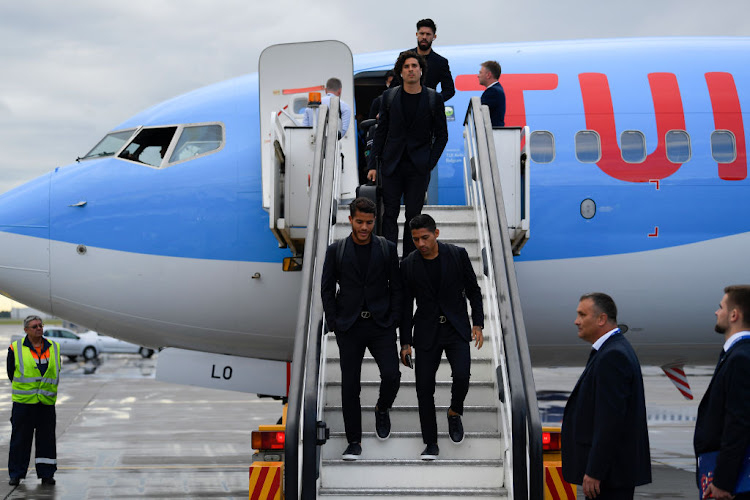 Oribe Peralta, Guillermo Ochoa, Jonathan dos Santos and Javier Aquino of Mexico arrive at Russia's Sheremetyevo International Airport ahead of the 2018 FIFA World Cup.