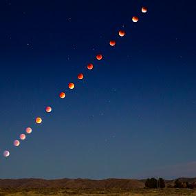 2015 Supermoon Lunar Eclipse by Rachaelle Larsen - Landscapes Starscapes ( september supermoon, lunar eclipse, 2015 supermoon, full moon, full eclipse )