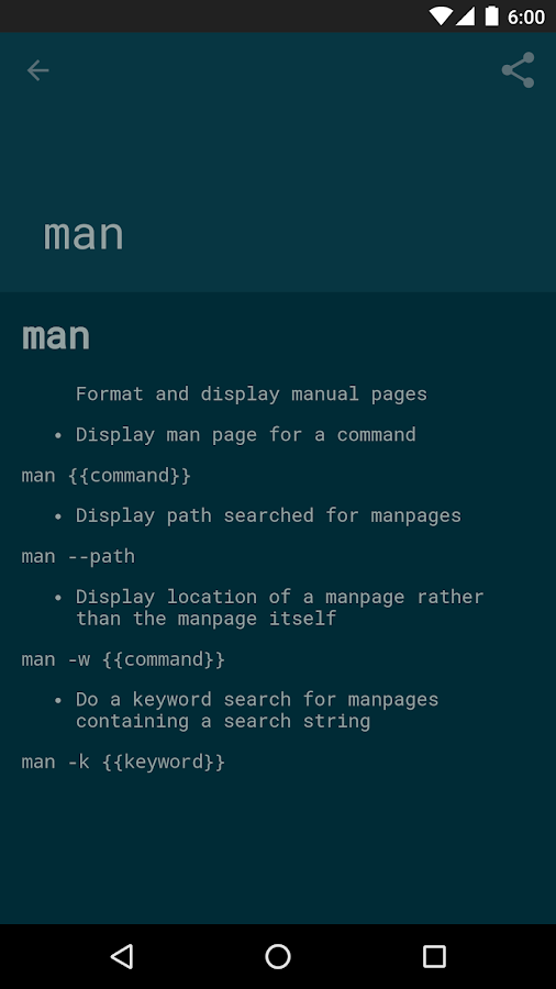 tldroid - simplified man pages- screenshot