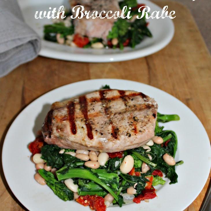 Grilled Boneless Pork Chops with Broccoli Rabe #SundaySupper Recipe
