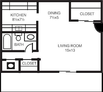 Go to Studio, One Bath A Floorplan page.