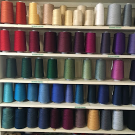 Stacking Thread Spindles by Mike DeLong - Artistic Objects Clothing & Accessories ( stacked, thread, spindle, colors,  )