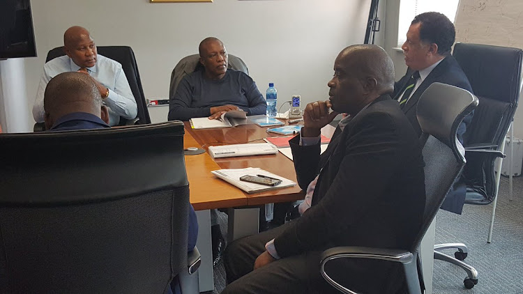 The South African FA president Danny Jordaan chairing Joint Liaison Committee meeting attended by PSL chairman Irvin Khoza and Kaizer Motaung among others at SAFA House on Monday 11 September 2017. This is the meeting that decided that Safa will not appeal a FIFA ruling that ordered a replay of a World Cup qualifier against Senegal.