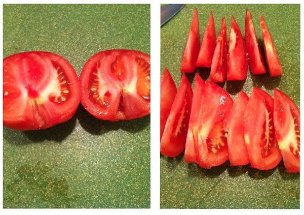 slice tomato into thin wedges (put aside)