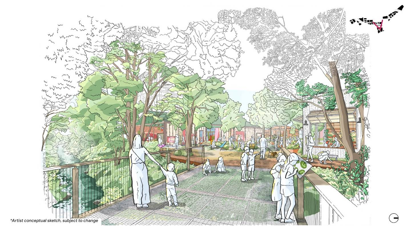 A sketch of the what the Creekside Walk may look and feel like