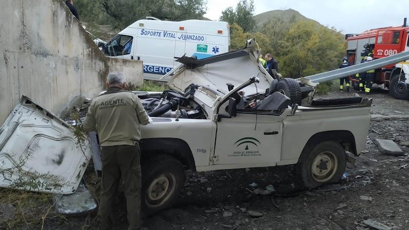 Estado en el que quedó el vhehículo tras el accidente.