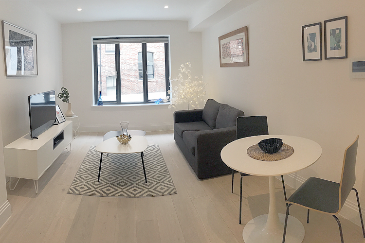 Living area at Oxford Circus Apartments