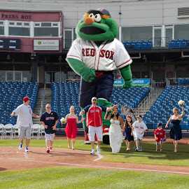 Run by Todd Wallarab - Wedding Groups ( mascot, red sox, boston, baseball, wedding, run, giant, wedding party )