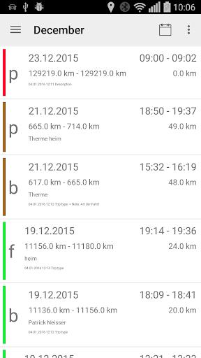 Mileage logbook TripTrackerPRO screenshot