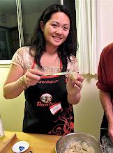 Photo: Janet making a shrimp toast