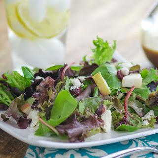 Spring Mix Salad with Pomegranate Honey Dijon Balsamic Vinaigrette.