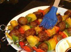 Meatball, Veggie And Fruit Kabobs Party Platter