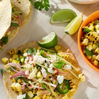 Charred Corn Tacos with Radish-Zucchini Slaw Recipe