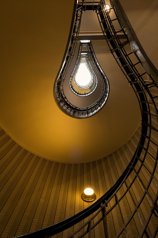 Can you switch off that light bulb? by Santanu Majumder - Buildings & Architecture Other Interior ( light bulb, stairs, pattern, prague, building )