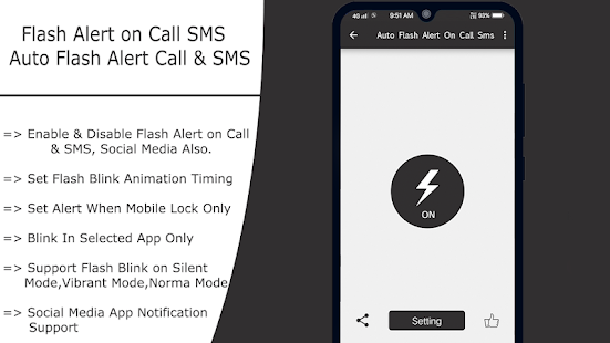 Flash on Call and SMS : Automatic flashlight 2020 Screenshot