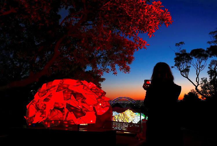 A woman uses her iPhone to take photographs of illuminated sculptures shaped as animals during a preview of Vivid Sydney, promoted as the world's largest festival of light, music and ideas, at Sydney's Taronga Zoo.
