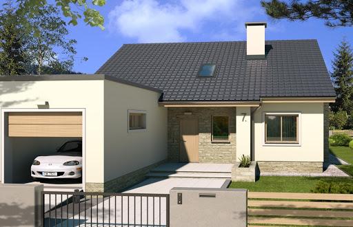 projekt Małgosia wersja EE z garażem z przodu, z poddaszem, bez wykusza