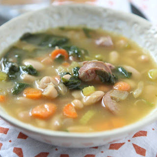 Smoked Sausage, White Bean and Spinach Soup.