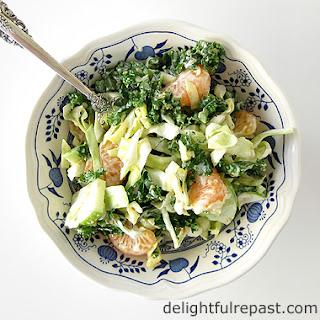 Cabbage and Kale Salad with Creamy Sesame Seed Dressing.