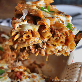 Baked Pasta with Sausage and Zucchini.