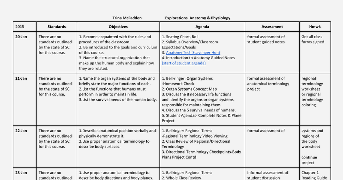 2015 Explorations Anatomy Physiology Lesson Plans Google Docs – Anatomical Terminology Worksheet