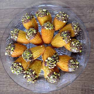 Pistachio & Chocolate Madeleines.
