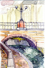 Photo: 2008 View of St. Michael's Cathedral. Ghent, Belgium. Watercolor.