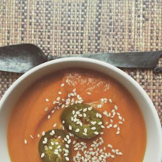 Spicy Carrot, Pumpkin and jalapeño soup