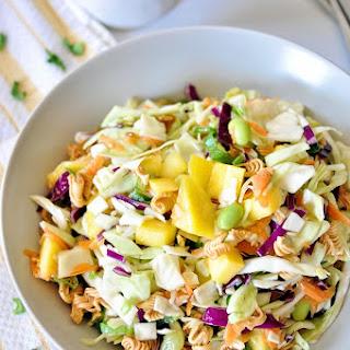 Asian Ramen Salad with Mango and Edamame.