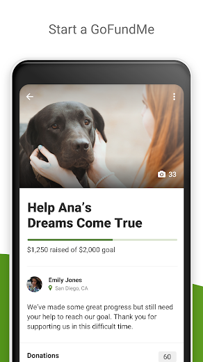 Screenshot 1 for GoFundMe's Android app'