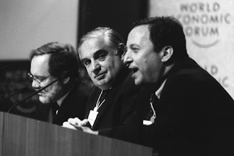 """Photo: DAVOS/SWITZERLAND, JAN 1997 - (fltr) Fred Bergsten, Director of the Institute for International Economics, USA; Peter Sutherland, Chairman and Managing Director of Goldman Sachs International; and Lawrence Summers, Deputy Secretary of the Treasury of the United States at the Annual Meeting of the World Economic Forum in Davos in 1997. Copyright <a href=""""http://www.weforum.org"""">World Economic Forum</a> (<a href=""""http://www.weforum.org"""">http://www.weforum.org</a>)"""