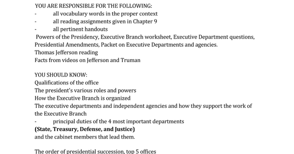 Executive Branch Review Sheet Google Docs – Roles of the President Worksheet