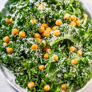 Kale Caesar Salad with Fried Chickpeas.