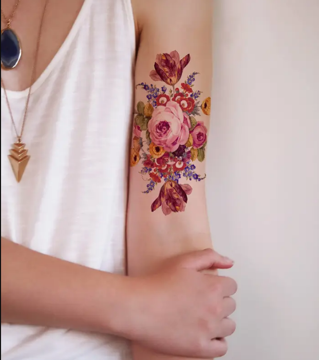 Aesthetic floral tattoo art