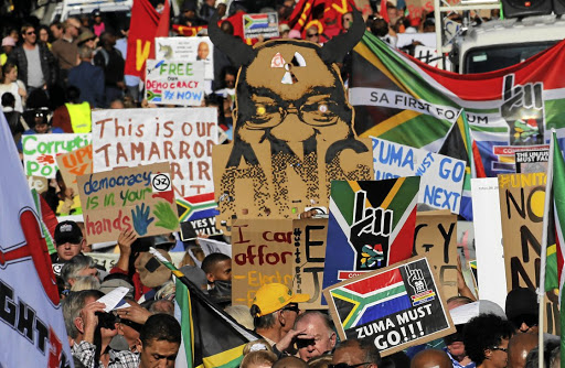 IN OPPOSITION Anti-Zuma protesters, civil society groups and faith communities march against President Zuma in Cape Town Picture: Reuters/Mike Hutchings