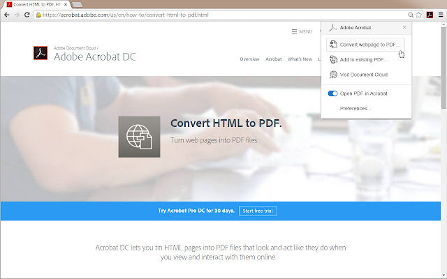 adobe acrobat chrome web store