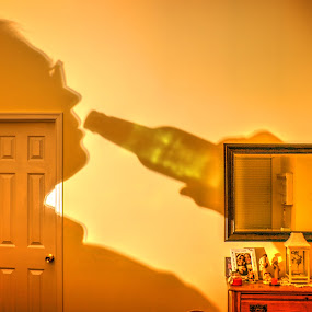 As Close as I'll Ever Come to a Selfie by Elk Baiter - Digital Art People ( selfie, beer, shadow, self portrait, bottle,  )