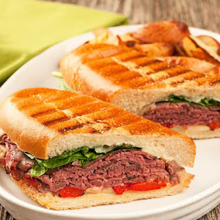 Roast Beef Panini with Garlic-Gorgonzola Mayo.