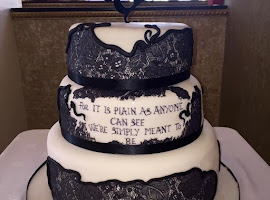 Black and white Tim Burton wedding cake